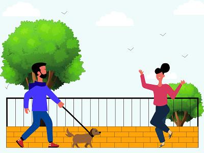 People Morning Walk - Illustration illustration art illustrator trees birds dog ui peoples walk morning illustration