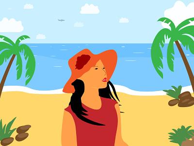 Beach Side Girl | Illustration hat sunshine morning illustrator grass illustration water girl