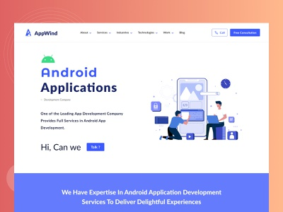 Android App | Development Company Website | UI illustration footer herosection userinterface androidapplication uiux webdesign website