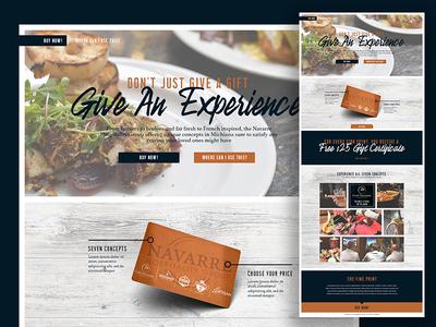 Gift Card Landing Page typography website ux ui wood branding restaurant design web landing page