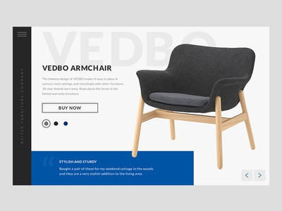 Vedbo Armchair product menu interaction design ux animation concept website web ui