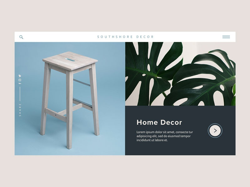 Southshore Decor Concept product menu interaction design ux animation concept website web ui