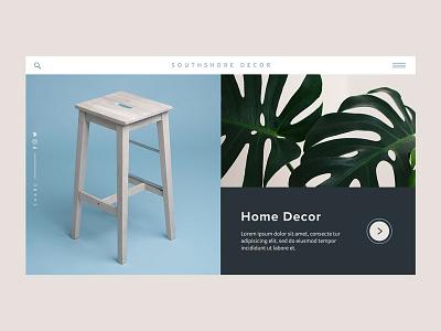 Southshore Decor Concept product menu interaction design ux animation concept website web ui