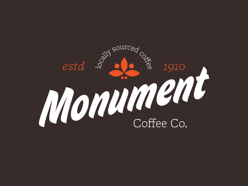 Monument Coffee Co brand logo lockup illustration design coffee typography type mark icon