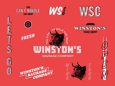 Winston's Sausage Co. wip mark illustration icon design brand restaurant branding logo