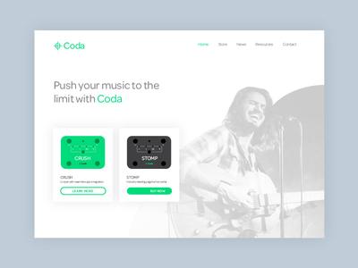 Coda Web Concept ux ui color music website design page card brand branding web web design