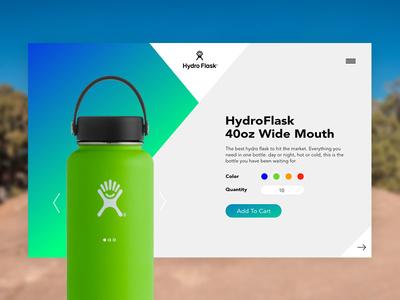HydroFlask Concept cart ux ipad ecommerce card ui product web design website concept design affinity designer