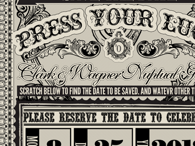Save the date lottery vintage typography save the date wedding