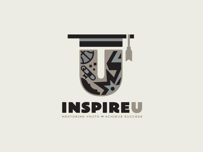 InspireU mark success graduation mentorship community youth sports logo logomark