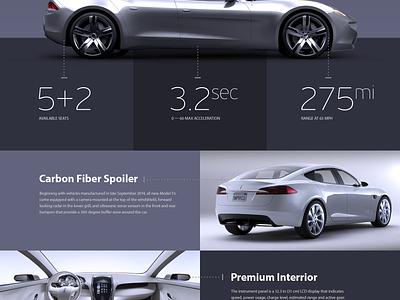 Tesla «Model S» Promosite Concept (PSD Freebie) web site car tesla psd free modern flat minimal ui design