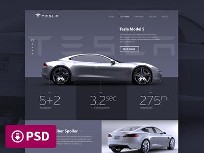 Tesla «Model S» Promosite Concept (PSD Freebie)