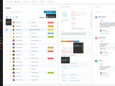 Clients App ui ux flat interface web application clean simple crm