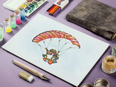 Crazy Flying Penguin art draw pengiun fly crazy plane character pilot paragliding