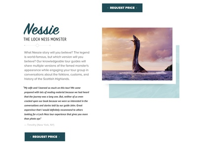 Tour Loch Ness layout webdesign loch ness landing webflow design web