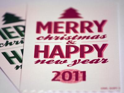 Printed Holiday Cards red green xmas christmas new year print new year