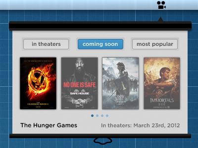 Movies! menubar app movie menu bar grey blue theater reel