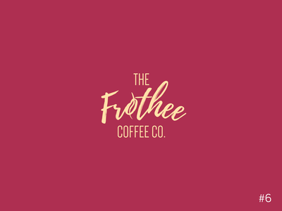 6/50 Daily Logo Challenge | Coffee Shop - Frothee Coffee red script font coffee bean cafe coffee shop vector logo design dailylogochallange branding