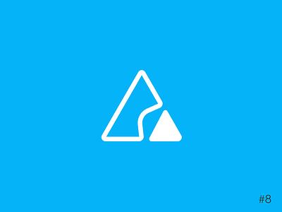 8/50 Daily Logo Challenge | Ski Mountain - Brass Peak triangle dailylogochallenge mountain resort ski icon affinity vector logo design branding