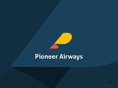 12/50 Daily Logo Challenge | Airline - Pioneer airline blue orange logo monogram geometric brand affinity icon vector logo dailylogochallange design branding