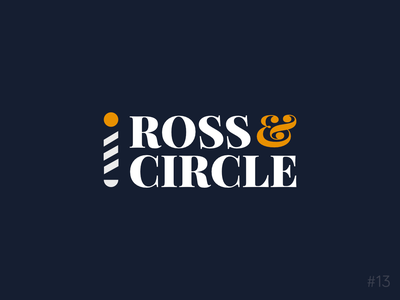 13/50 Daily Logo Challenge | Barber - Ross & Circle barber orange blue geometric brand affinity vector logo dailylogochallange design branding