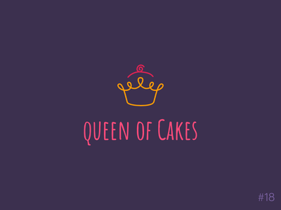 18/50 Daily Logo Challenge | Cupcake Logo line art handdrawn bakery cupcakes hand drawn queen cake crown pink orange brand icon affinity vector logo dailylogochallange design branding