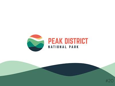 20/50 Daily Logo Challenge | National Park Logo - Peak District orange blue geometric brand icon affinity vector logo dailylogochallange design branding