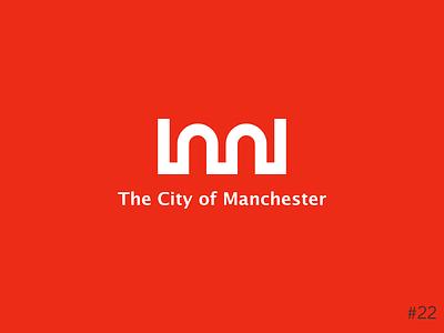 22/50 Daily Logo Challenge | City Logo - Manchester letter m m simple design simple line art arches modernism city manchester red monogram geometric brand icon affinity vector logo dailylogochallange design branding
