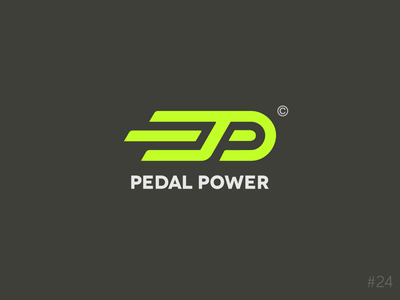 24/50 Daily Logo Challenge | Bicycle Logo - Pedal Power modern shop store movement fast speed lime green bicycle bike pedal monogram geometric brand icon vector logo dailylogochallange design branding