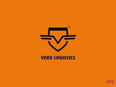 26/50 Daily Logo Challenge | Paper Aeroplane - Vero flight plane wings logo design shield letter v orange logo dailylogochallange design branding
