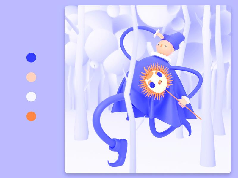Magician minimal animation branding b3d character blendercycles lowpoly modeling 3dart blender3dart blender3d characterdesign design illustration blender