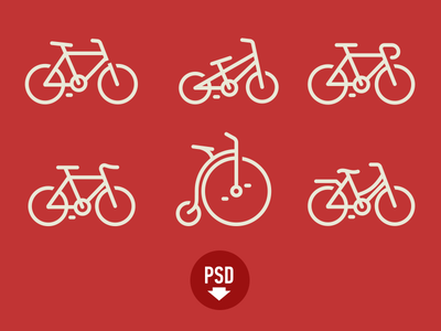 Bicycles icons PSD icons app ios car color red clean iphone vector