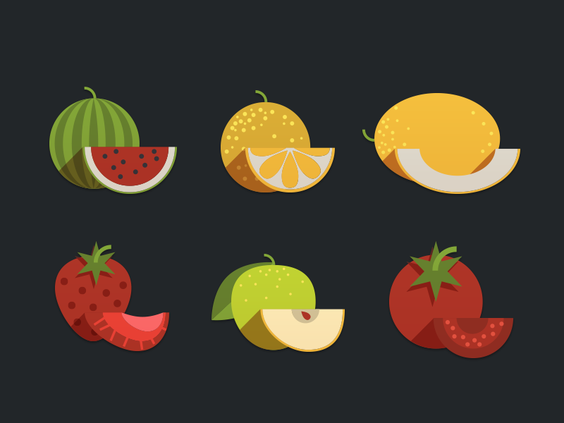 Fruits Icon illustration app color