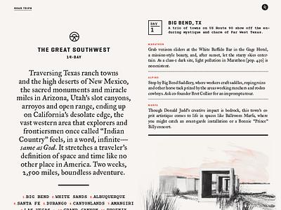 Interiors Spreads road trip desert publication design layout typography wildsam