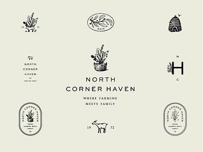 North Corner Haven  animals leaves beehive fruit farm illustration design identity brand development