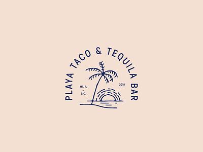 Playa Taco water restaurant branding palm tree sun taco brand exploration logo
