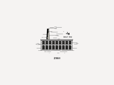 Judson Mill illustration mark brand development branding identity mill building logo design logo