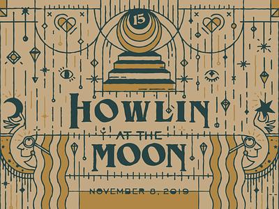 Halsey Institute Membership Celebration Invitation sdco moon texture vector design type illustration