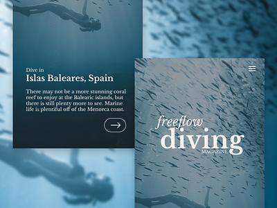 Freeform Diving unsplash mobile design ux ui landing page