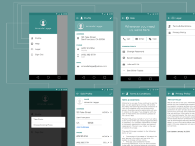 Android Profile Wireframes android profile wireframes sitemap flow