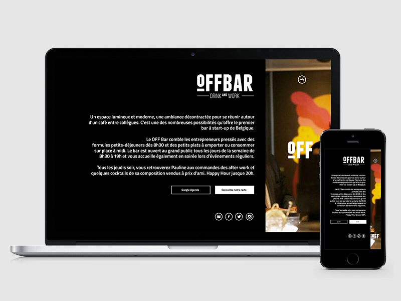 Offbar Web web mobile site black navigation offbar logo clear minimal ui ux