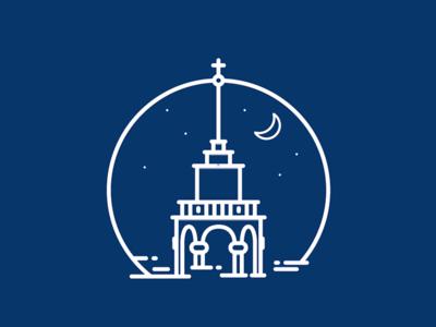 Illustration by night  liege dream night icon line design illu