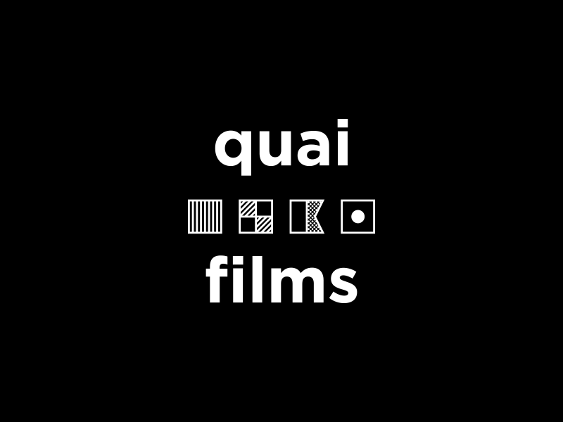 quai films gotham movies boat flag dock logo simple white black design