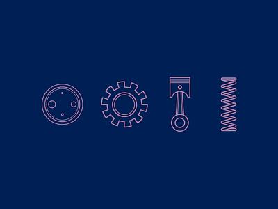Mechanic icon set simple line logo set icon graphic design ui ux