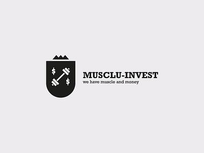 Muscul-invest joke white black simple ux ui logo