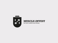 Muscul-invest joke white black simple ux ui logo
