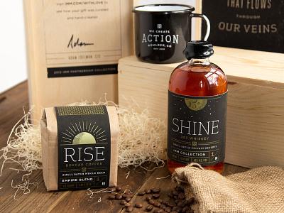 IMM Holiday Gift screenprinting packaging metallic gold whiskey coffee wood box enamel mug booze wax holiday gift