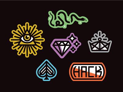 Hacker Magic stickers hack hack week dropbox ace of spades crown diamond all seeing eye