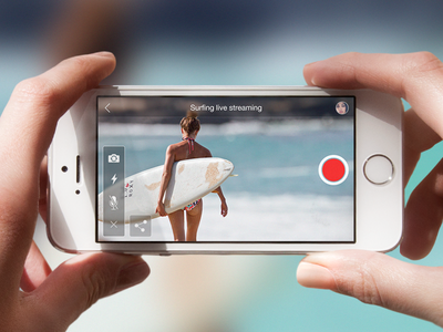 Camera UI for upcoming Secret Project camera ios ui ux ios7 clean iphone streaming surfing