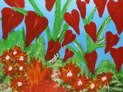 tree of hearts , acrylic on 16x20 canvas acrylics acrylicpainting flower art flowers
