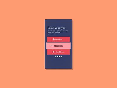 64. Select User Type typography ux dailyui minimal app figma design
